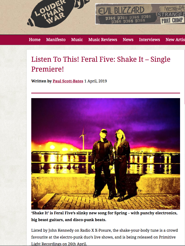 feral five, shake it, single, premiere, louder than war,electronica, electropunk, electro, dance, punk , bass, guitar, synth